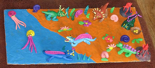 Динозавр из пластилина фото
